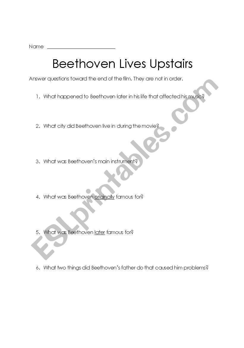 English Worksheets Beethoven Lives Upstairs