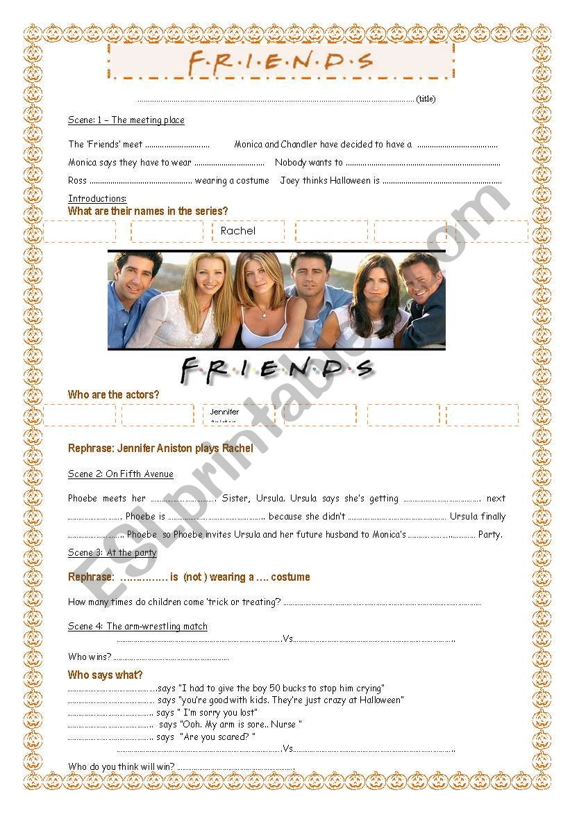Friends the Halloween party worksheet