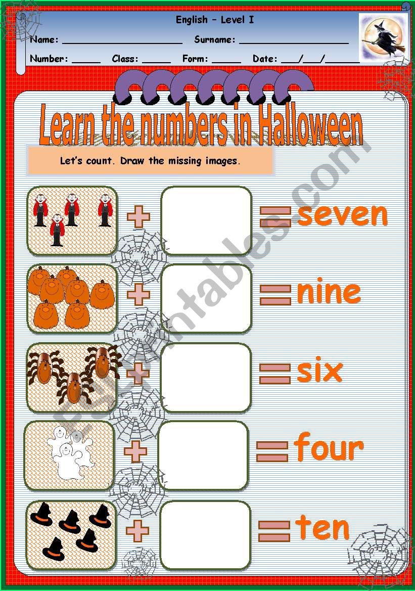 Learn the numbers in Halloween