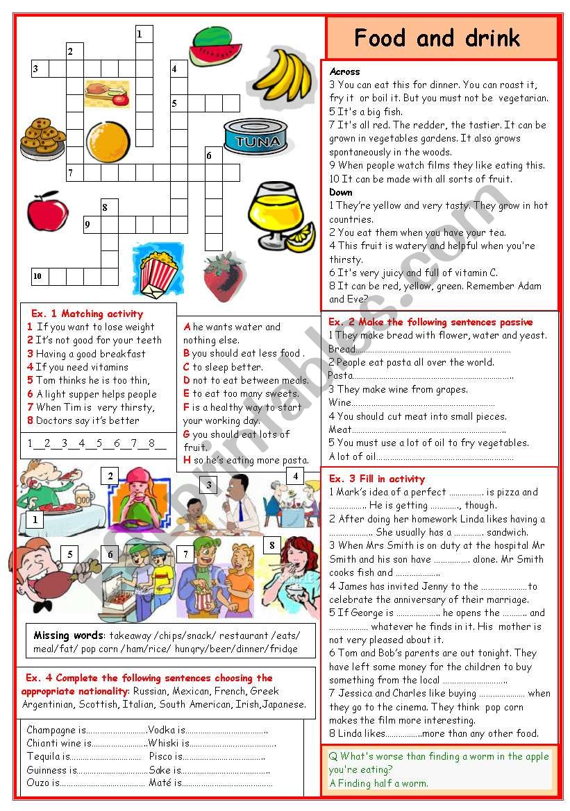 Food and drink worksheet