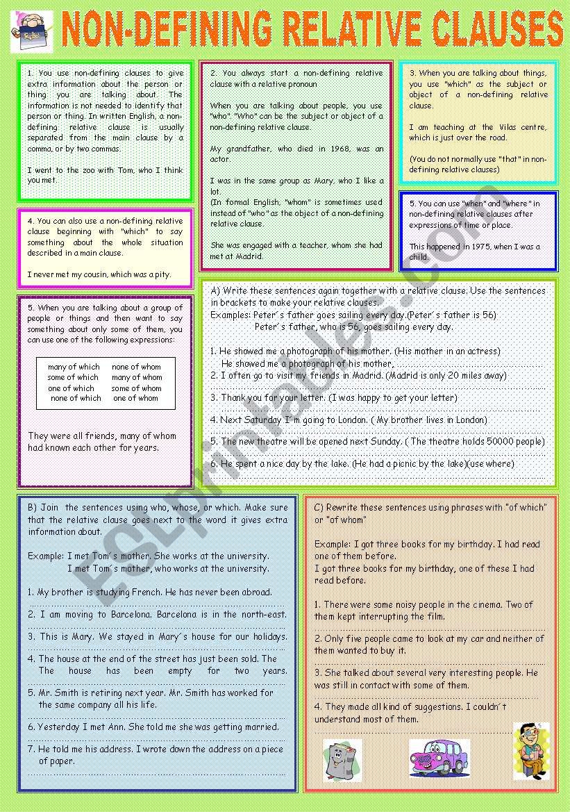 NON DEFINING RELATIVE CLAUSES worksheet