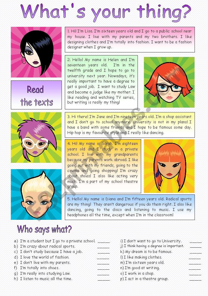 Reading - what´s your thing? worksheet