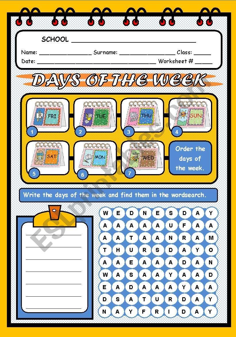 DAYS OF THE WEEK - PART 1 worksheet