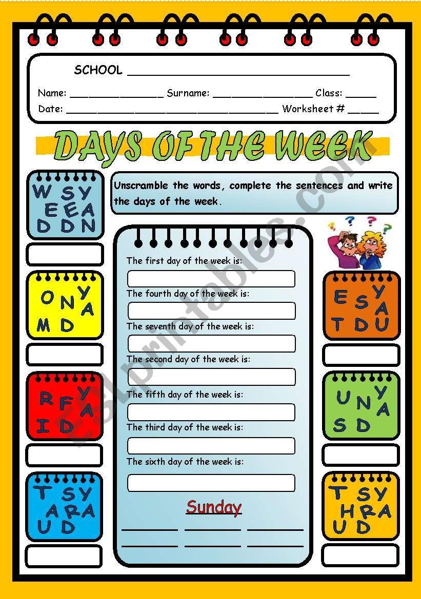DAYS OF THE WEEK - PART 2 worksheet