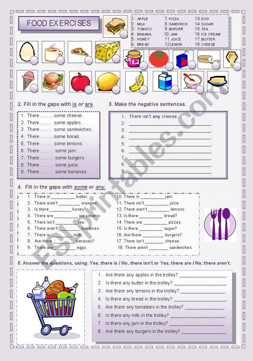 There is / There are + food worksheet
