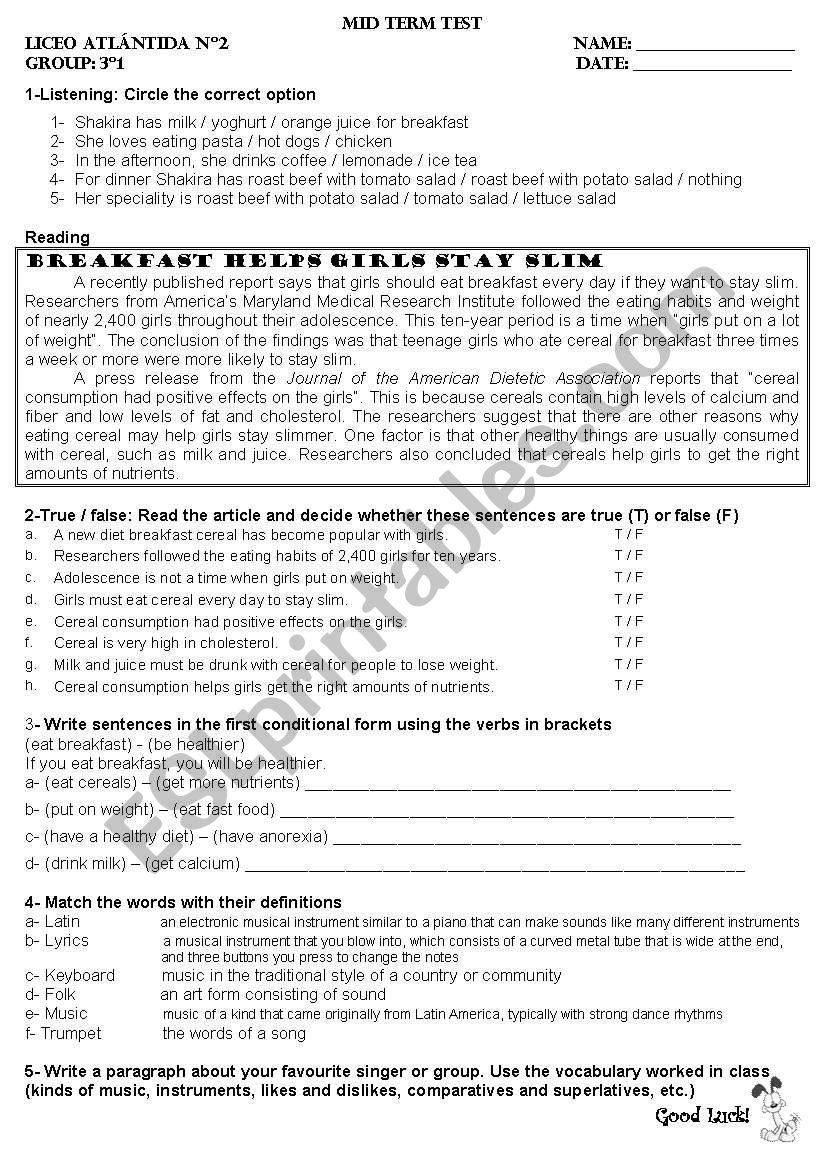 Mid term test  worksheet