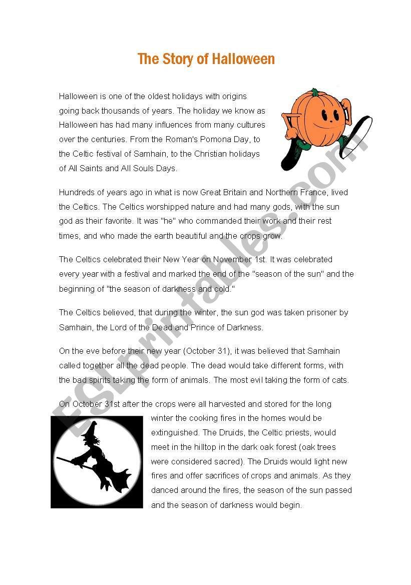 The story of Halloween worksheet