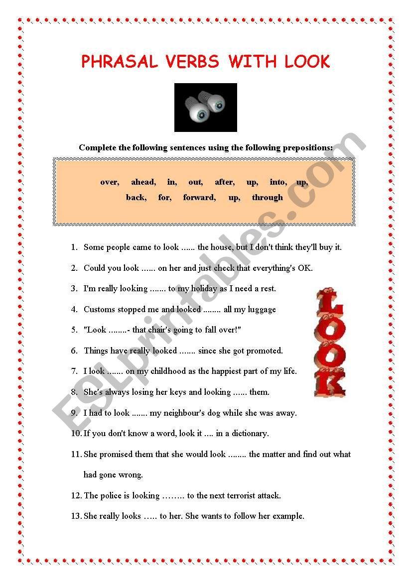 PHRASAL VERBS WITH LOOK  worksheet