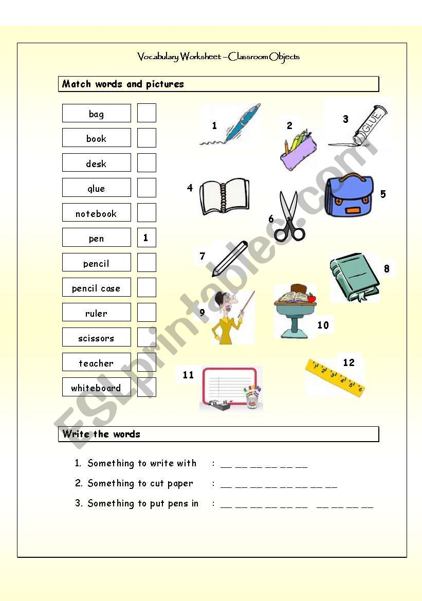 vocabulary matching worksheet - classroom objects