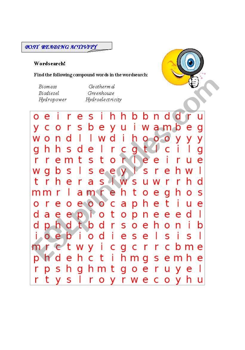 wordsearch renewable energy worksheet