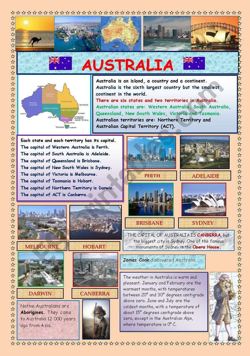 AUSTRALIA (2 PAGES) worksheet