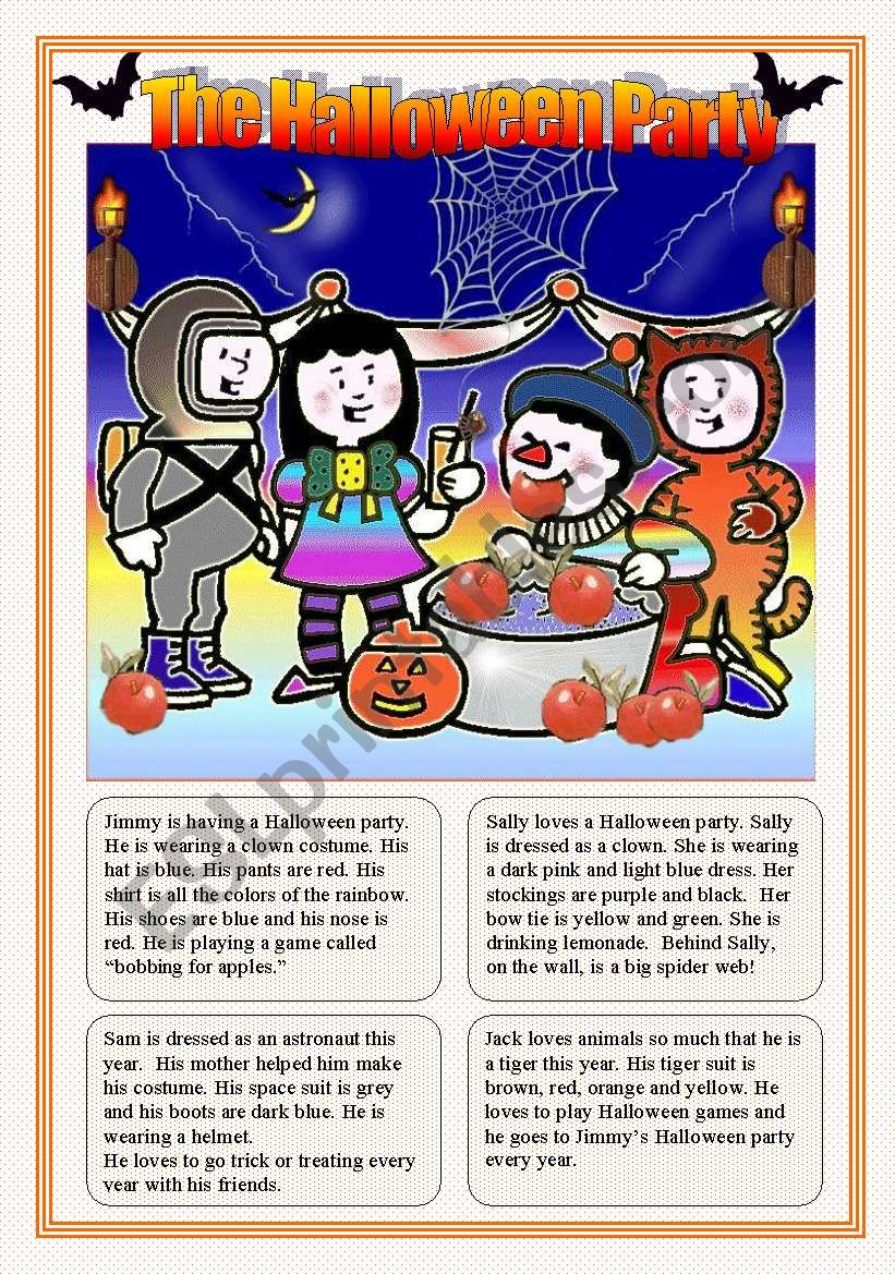 THE HALLOWEEN PARTY worksheet
