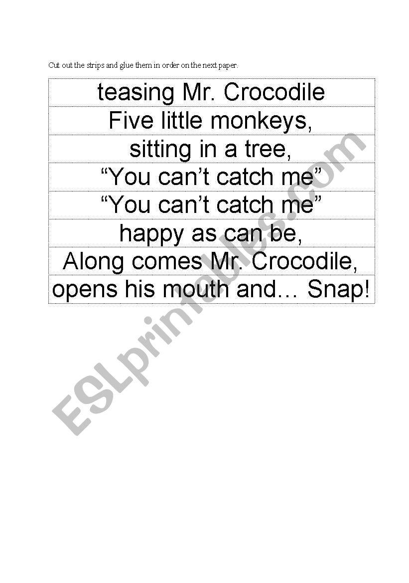 Five Little Monkeys Sitting in a Tree Rhyme