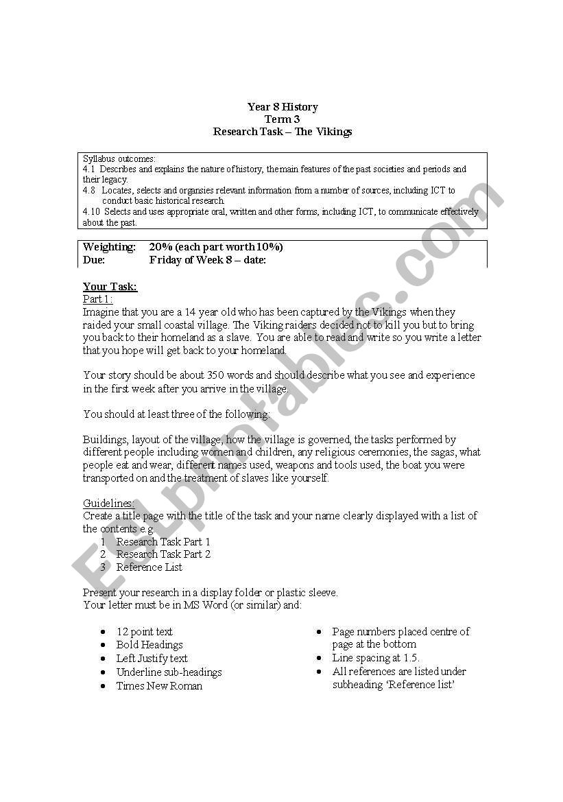 Vikings Assessment task worksheet