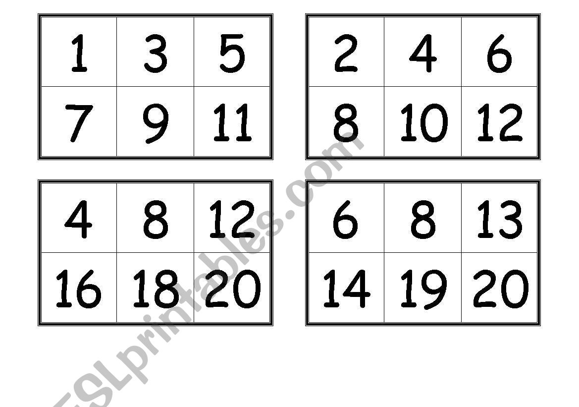 Numbers Bingo Cards From 1 To 20 Esl Worksheet By Creguen