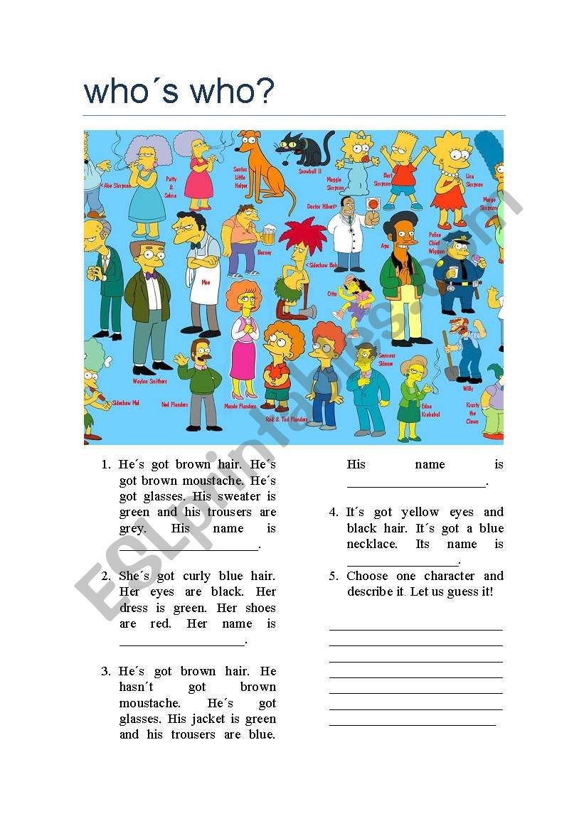 Who´s who? worksheet