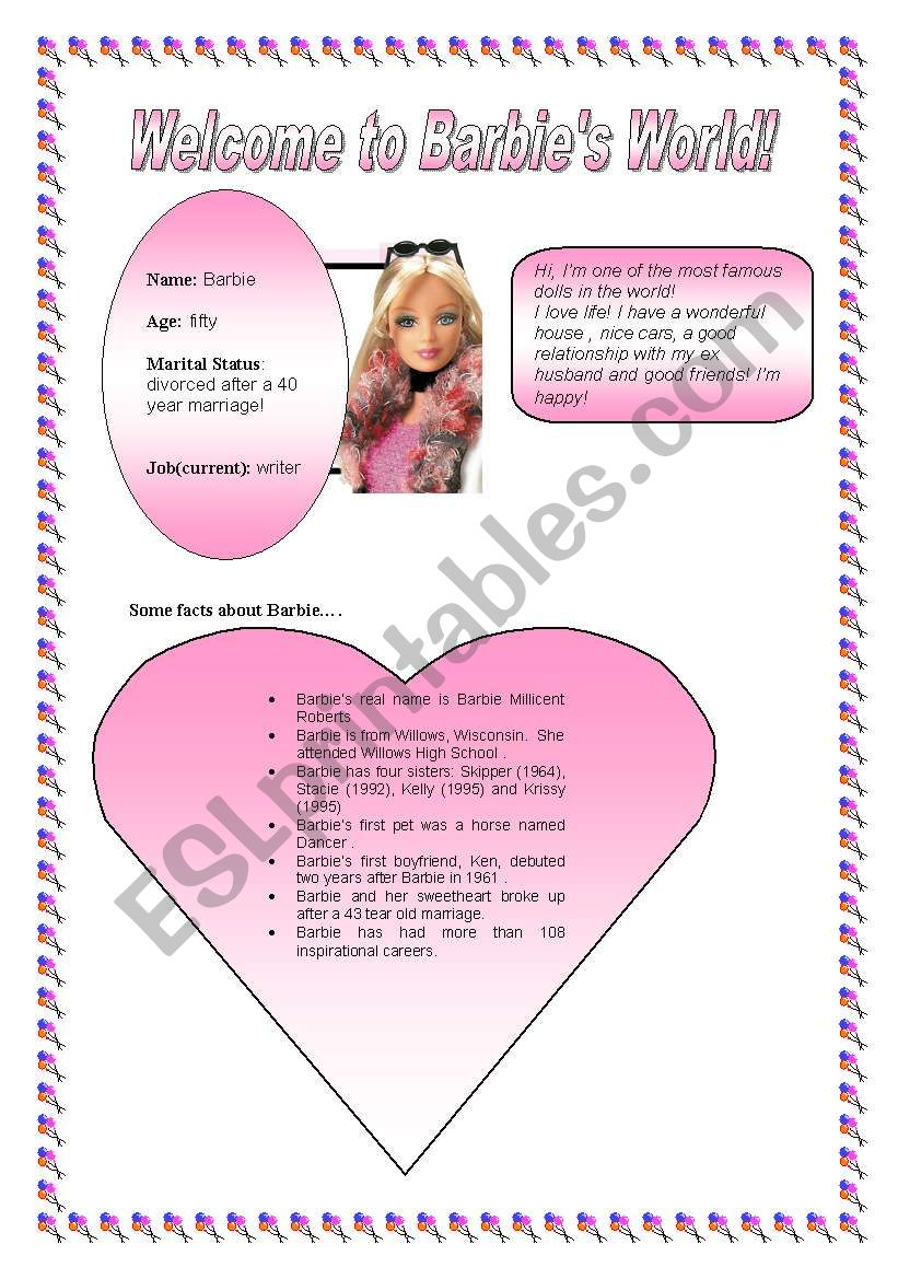 Some facts about Barbie! worksheet