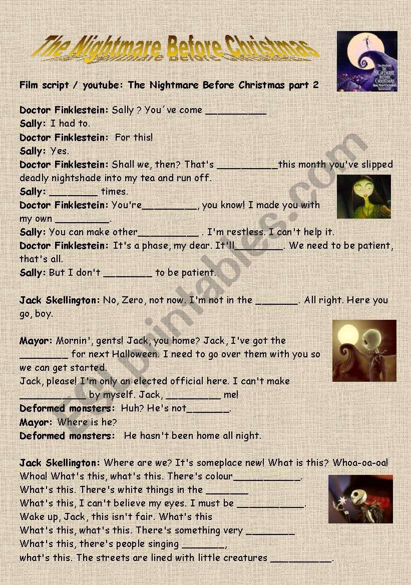 The Nightmare Before Christmas - ESL worksheet by lotas