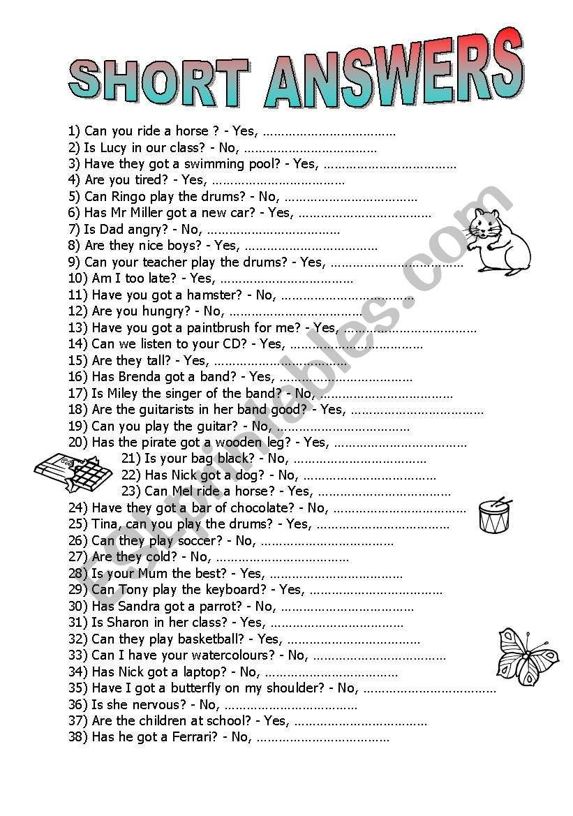 Short Answers worksheet