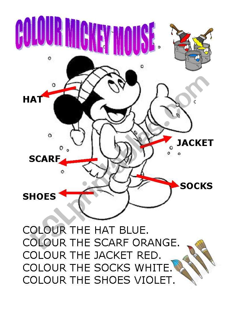 colour mickey mouse worksheet