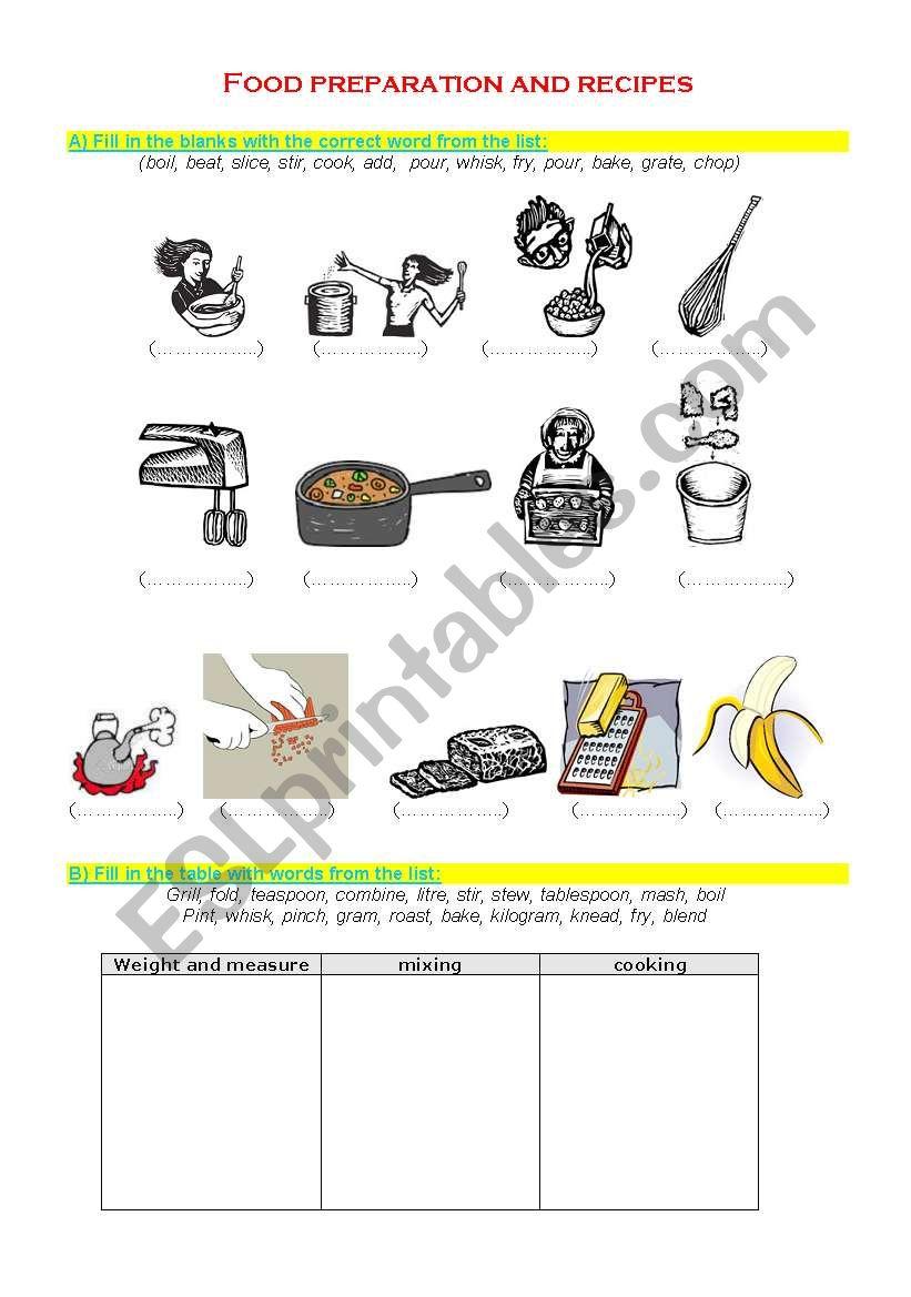 Food preparation and recipes - ESL worksheet by nhanha