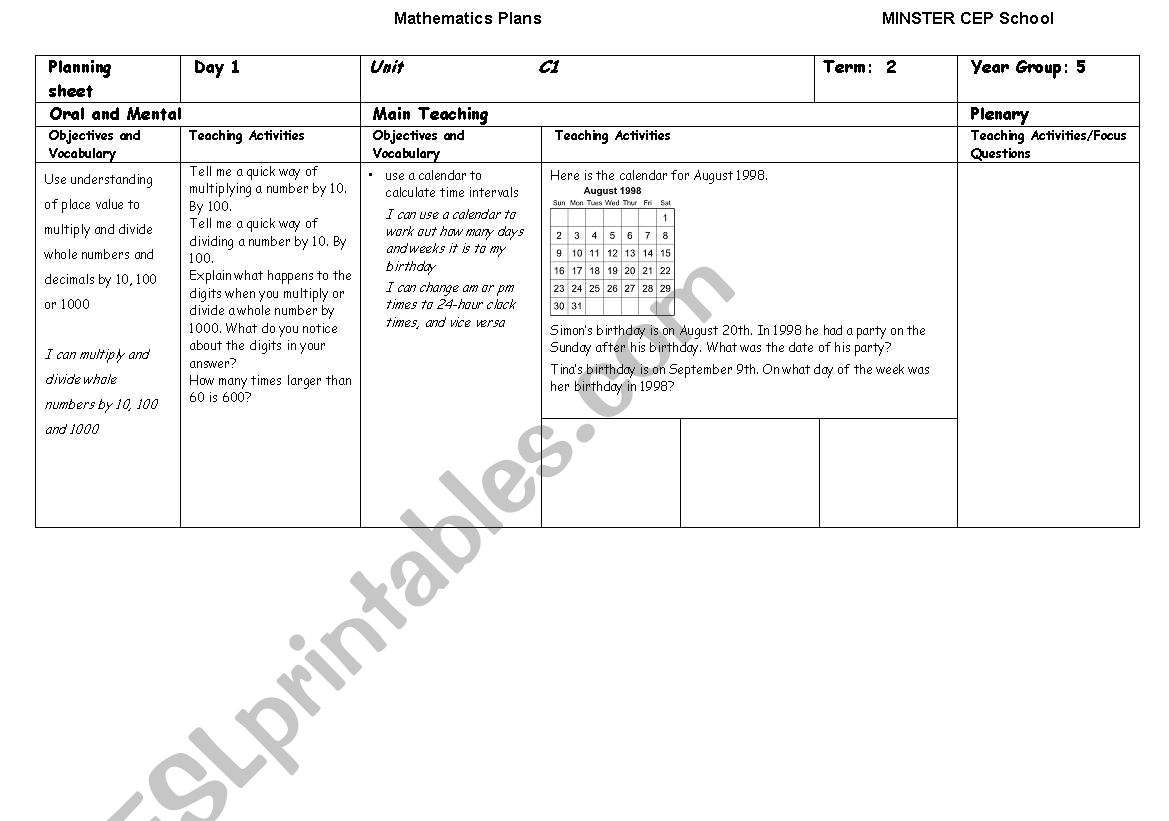 English worksheets: Maths literacy D1
