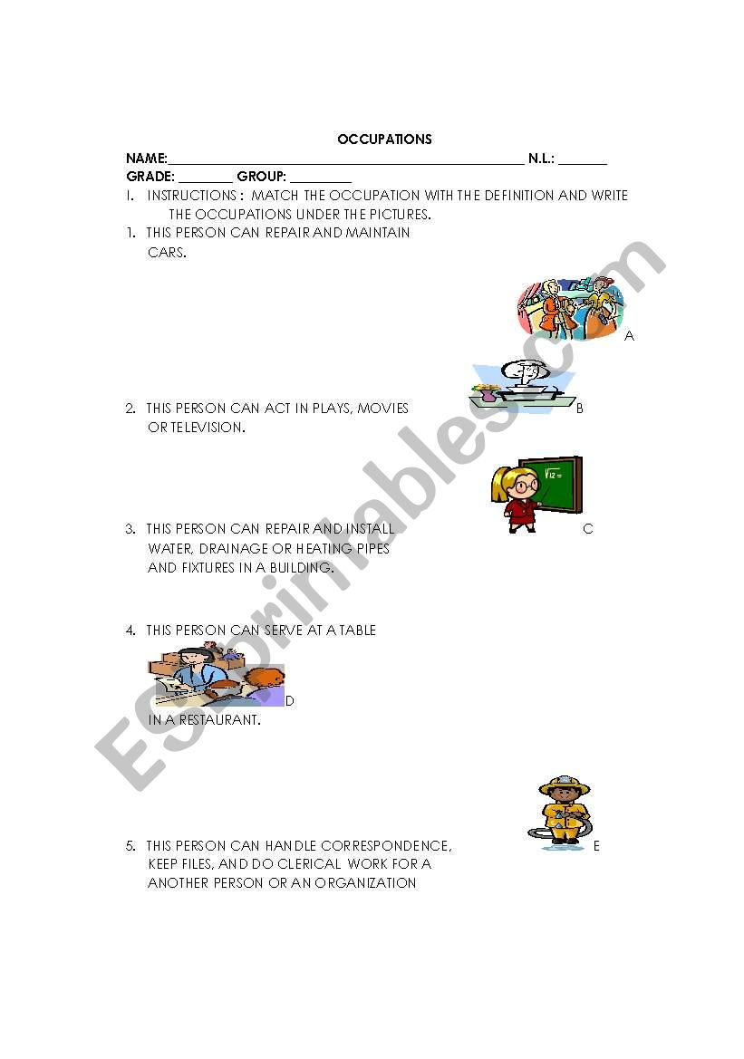 MATCH EXERCISE worksheet