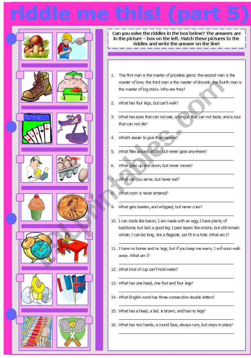 RIDDLE ME THIS! (PART 5) worksheet