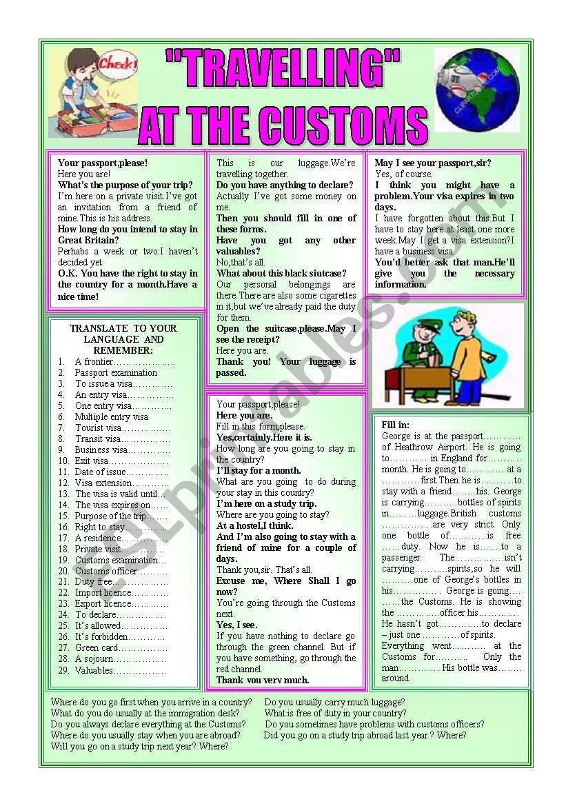 ´´TRAVELLING´´-AT THE CUSTOMS worksheet