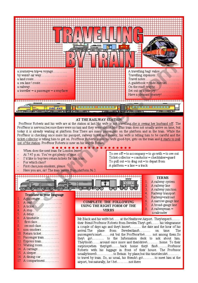 TRAVELLING BY TRAIN worksheet