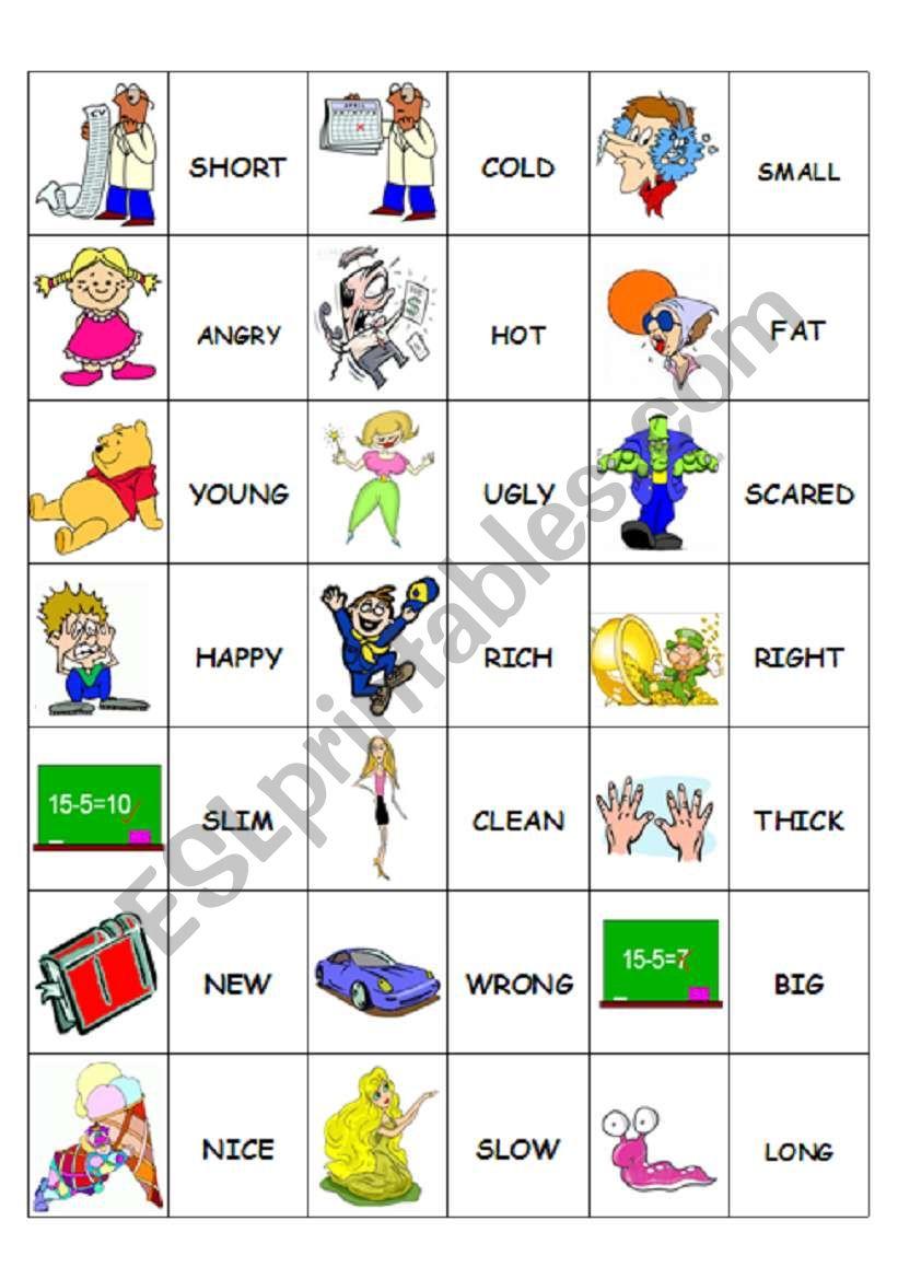 Domino Adjectives 2/2 worksheet