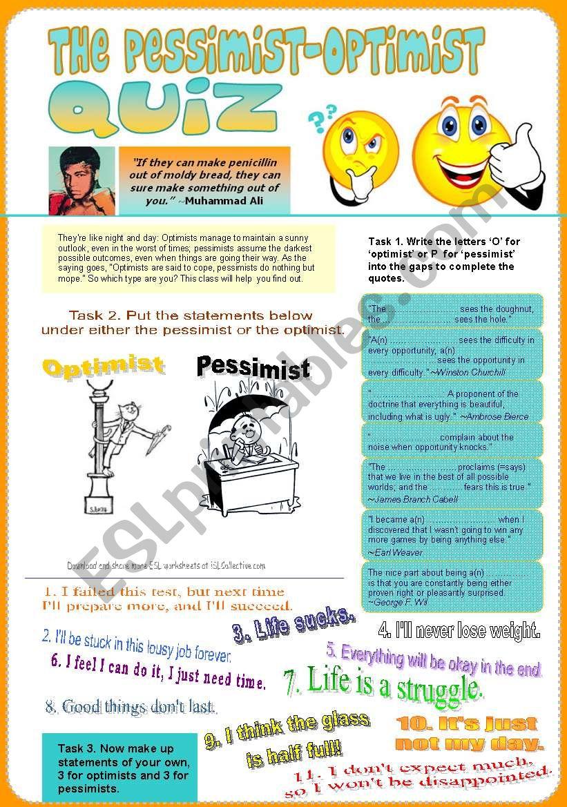 The Pessimist-Optimist Personality Quiz (4 pages: Quiz, Quotes, Vocab)
