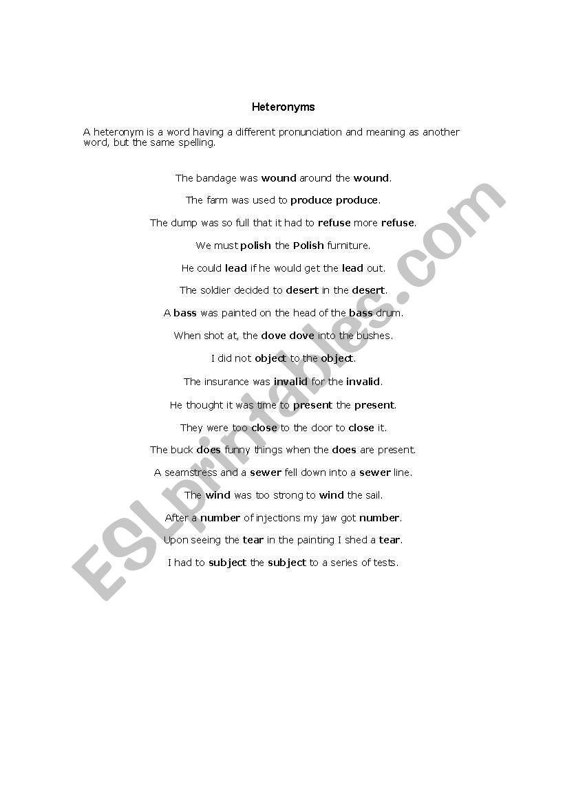 English worksheets: English heteronyms