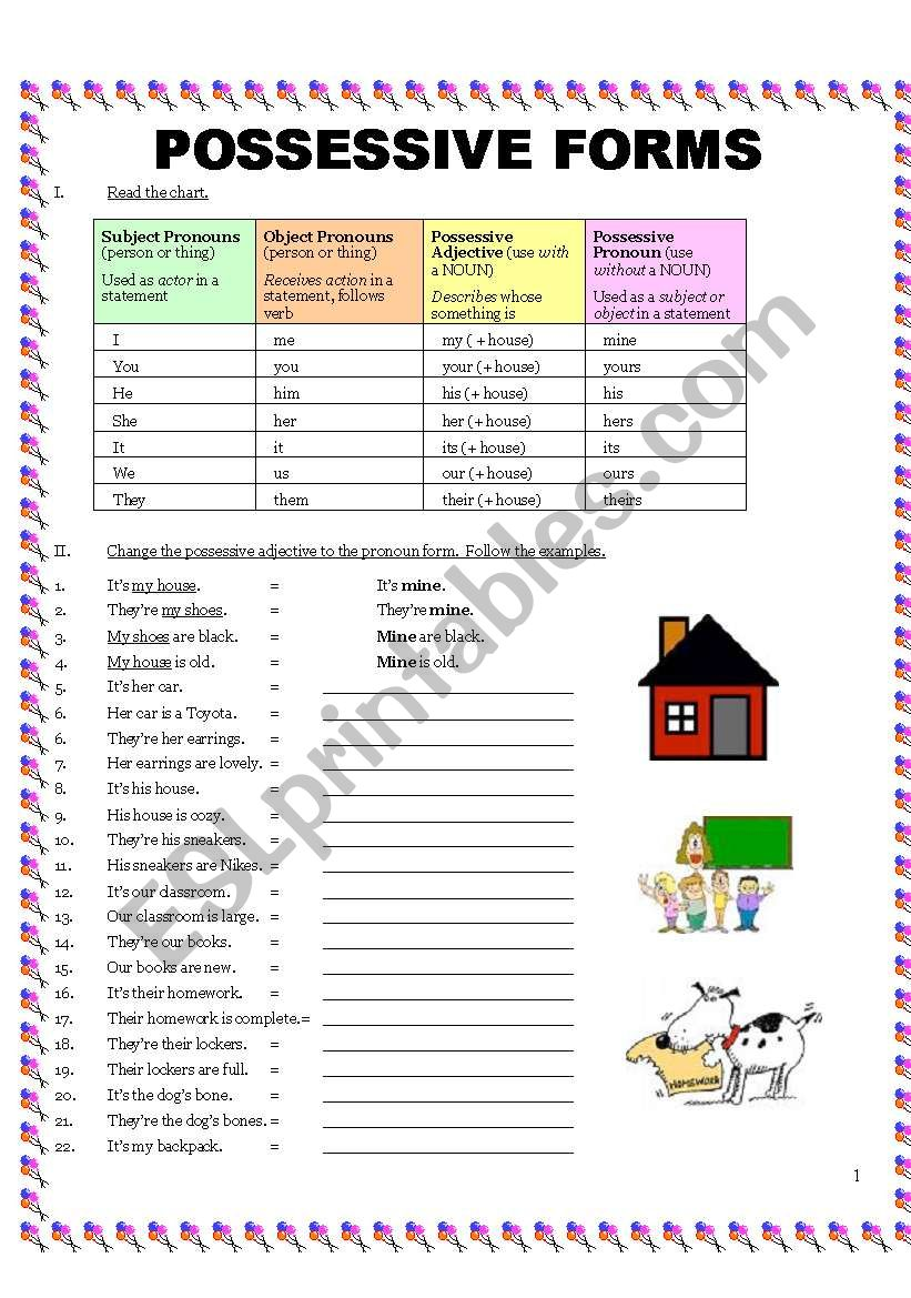 Possessive Forms:  4 Pages worksheet