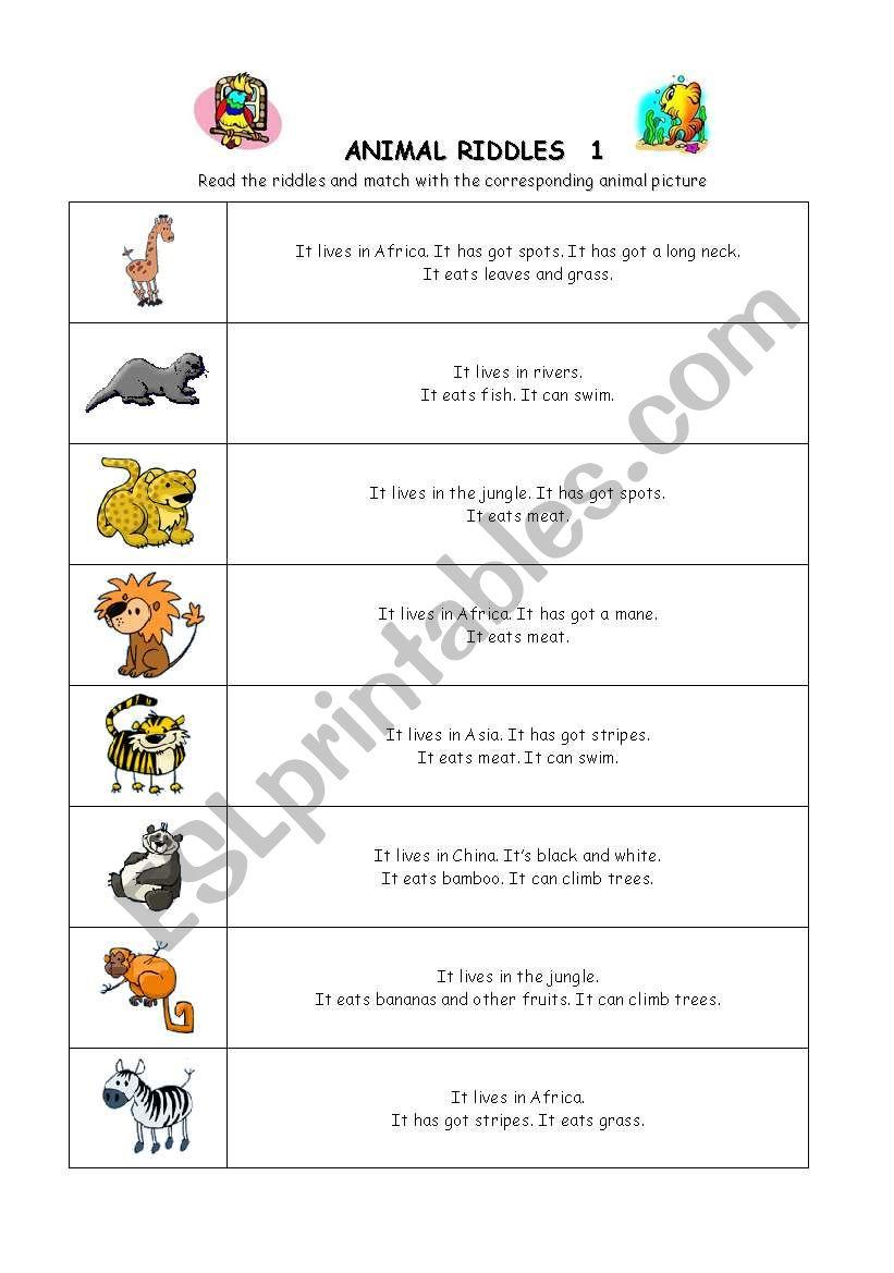 animal riddles 1 esl worksheet by bonimartin. Black Bedroom Furniture Sets. Home Design Ideas