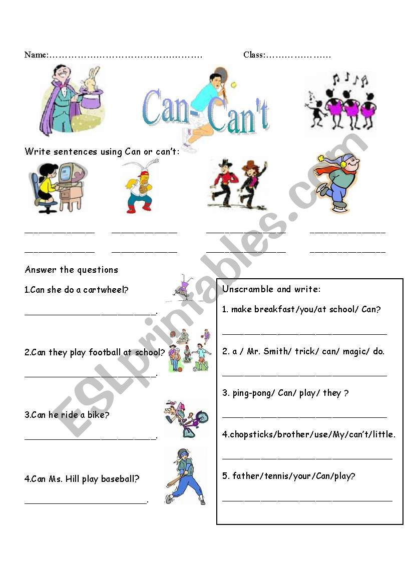 Can-Can´t with daily activities