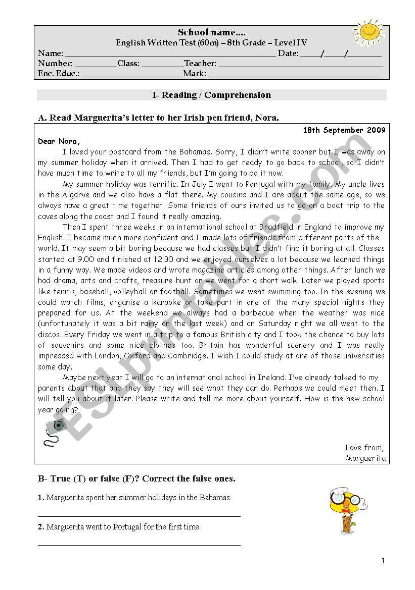 Test on the topic Holidays worksheet