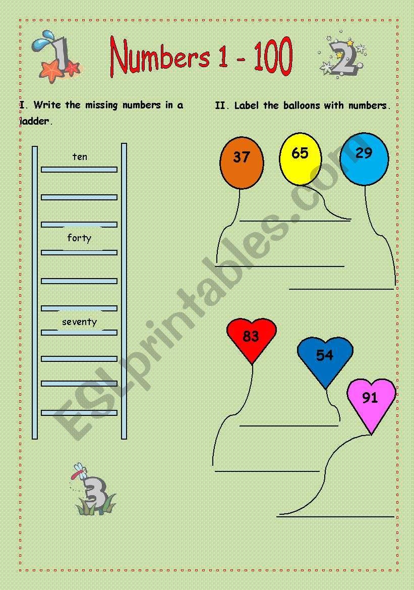 Numbers (1-100) worksheet