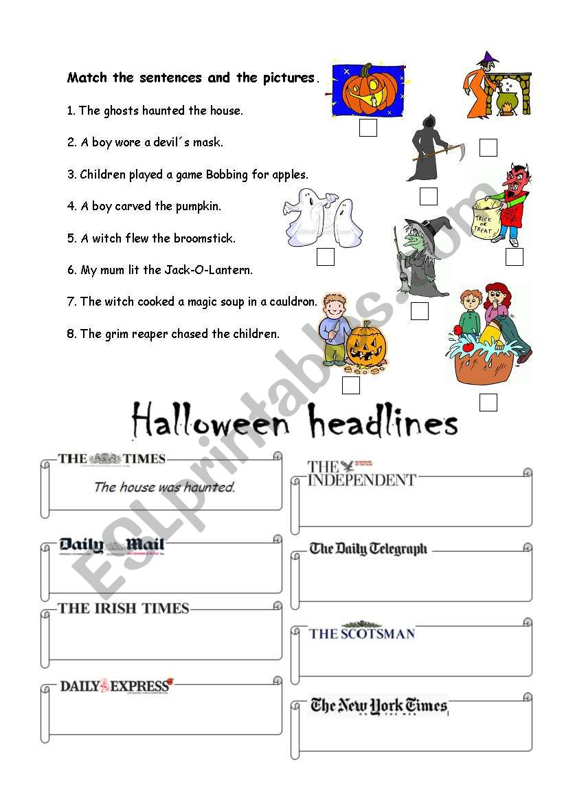 Halloween headlines worksheet
