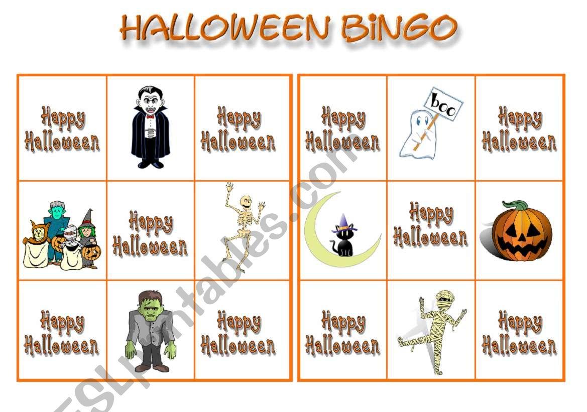 Halloween bingo 1 worksheet