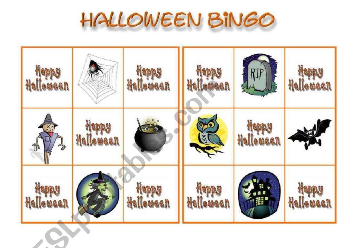 Halloween bingo 2 worksheet