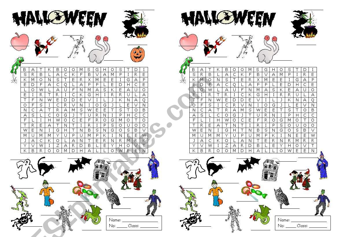 Hallowe´en wordpuzzle (A5 size)