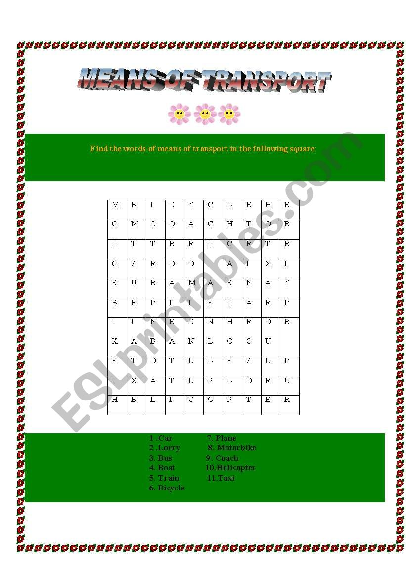 Means of transport- word search