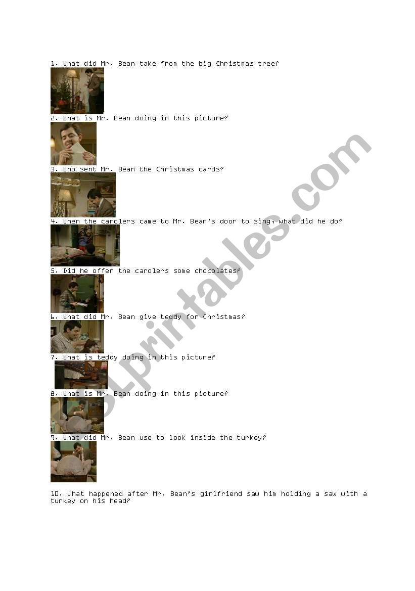English Worksheets Merry Christmas Mr Bean Questions With Pictures