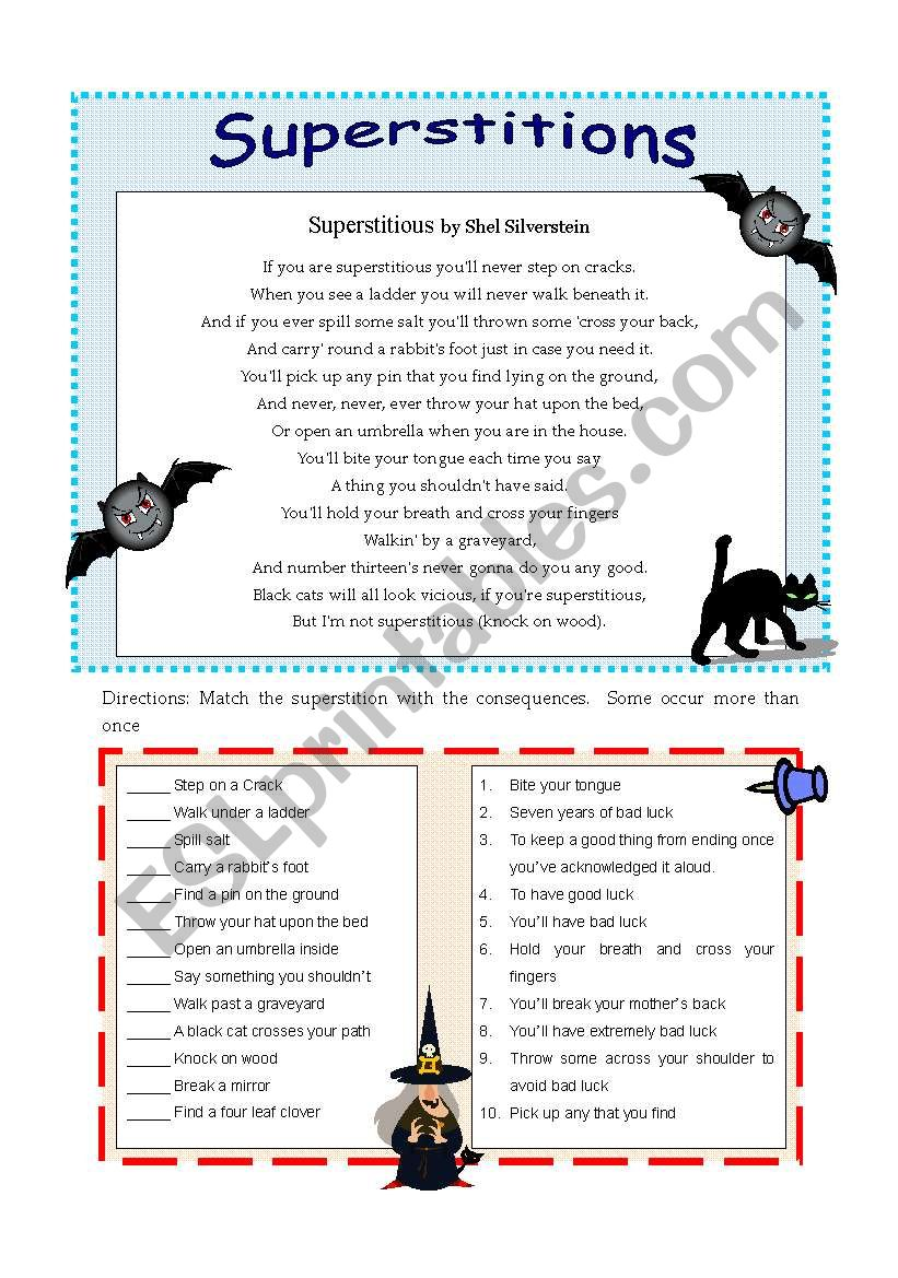 Superstitions worksheet