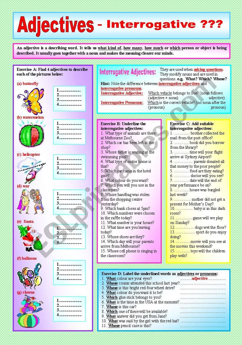 """""""ADJECTIVES"""" - Interrogative Adjectives  & Interrogative Pronouns- ((Elementary/intermediate)) - Explanation & 4 Exercises with approx. 45 sentences to complete - (( B&W VERSION INCLUDED ))"""