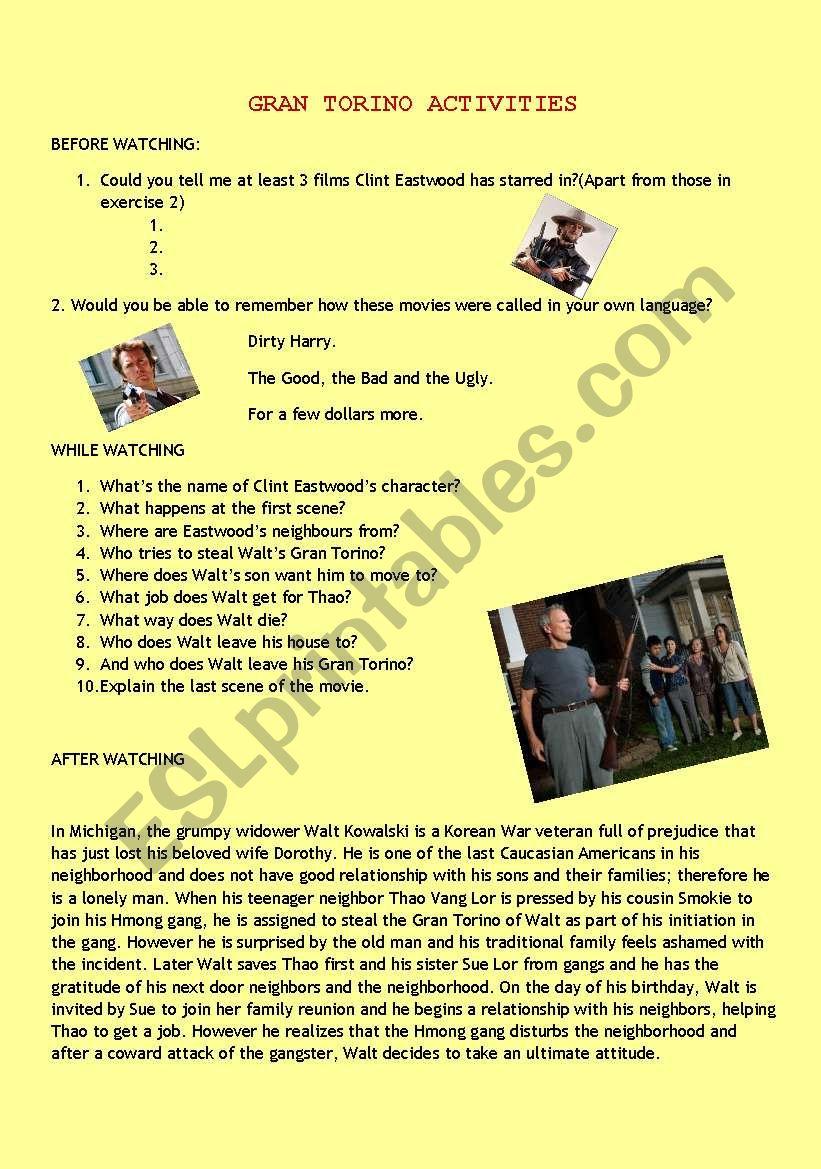 GRAN TORINO ACTIVITIES worksheet
