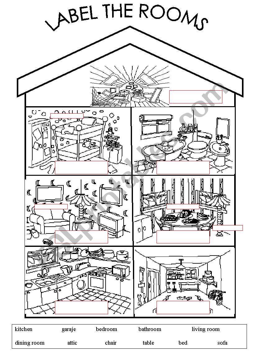 Rooms Worksheet: ESL Worksheet By Arwood