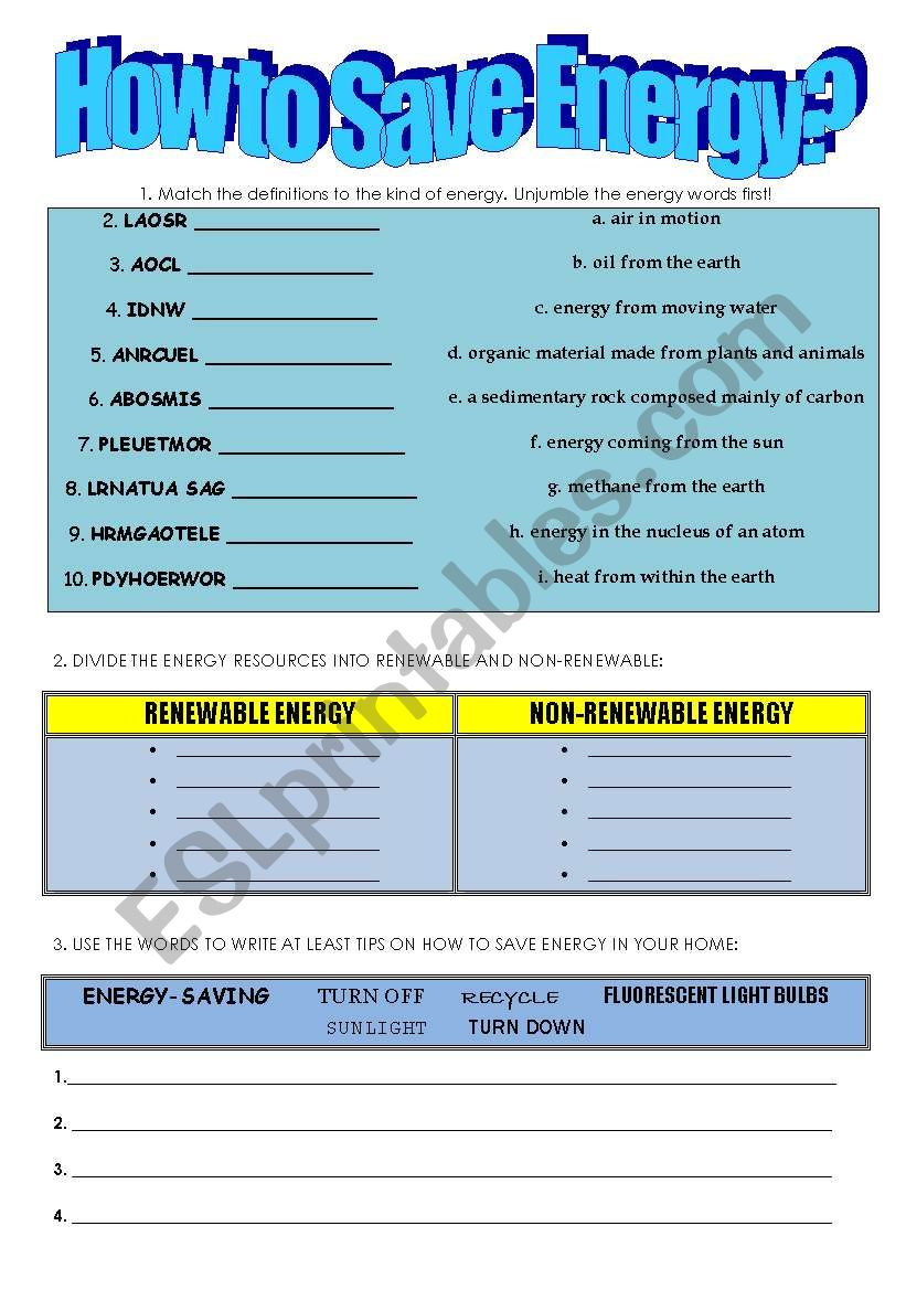 English worksheets: How to save energy?
