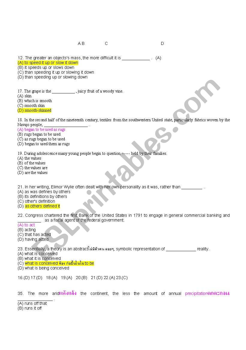 brief for toeic worksheet